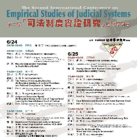 第二屆「司法制度實證研究」國際研討會